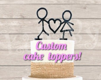 3D printed CAKE TOPPER with your own shape! Ideal for wedding cakes. Removable supports. Send me your drawing, I'll make the topper!