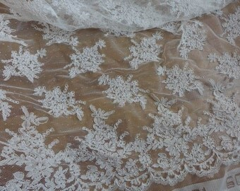 Bridal Gown Fabric in Off white, Beautiful Corded Lace Fabric, Double Scallop Floral Fabric