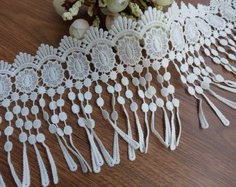 white fringe lace teardrop lace scalloped lace trim for flappers, bridal, lace scarf