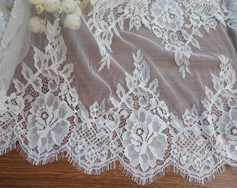 """13.8"""" Romantic chantilly lace white scalloped chantilly lace trim for mantilla veil or wedding  runner"""
