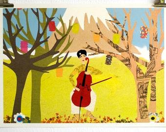 digital art | wall art | fine art print | digital collage | cello player print | Japan illustration | A3 print | A4 print