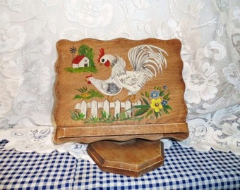 rooster u0026 hen recipe book holder picket fence with flowers - Recipe Book Holder