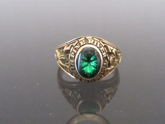 vintage 1983s 10k sold yg emerald cabochon class ring