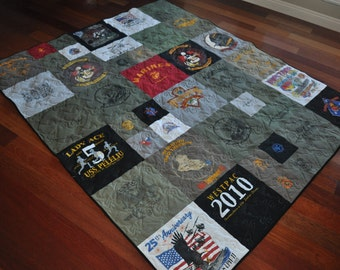 T-Shirt Quilt - Made to Order - Custom - **DEPOSIT**- Contemporary T-Shirt Quilt Style - T-Shirt Memory Quilt
