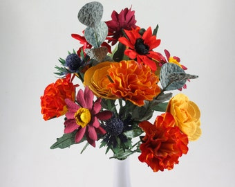 Mixed Paper Bouquet in Orange, Red, Yellow and Greeneries