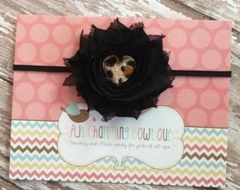 Single black shabby flower headband