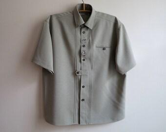 Pale Green Mens Dirndl Shirt Short Sleeves Button up Trachten German Folk Oktoberfest Peasant Size Large