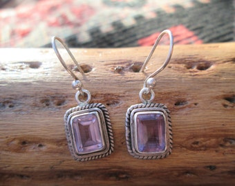 Amethyst and Sterling Dangle Earrings