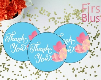 Hibiscus Hawaiian Favor Tag - Tropical Caribbean Thank You Tags