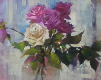 Rose parade, 11 1/2 x 8 1/4 inches, Original oil painting on Arches oil paper