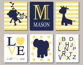 Jungle Nursery Art, Jungle Animals Nursery, Baby Boy Nursery Art, Boy Nursery Decor, Navy Yellow Nursery, Set of 6 Prints Or Canvas
