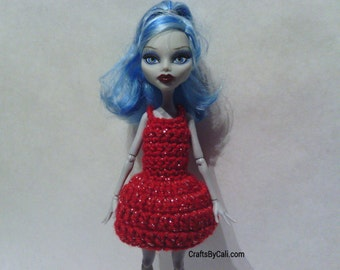 Hand Crocheted to fit a Monster High Doll (this is not a Mattel product), Clothes, Dress, Red Sparkle, Cute