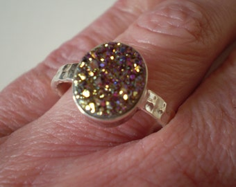 Titanium Drusy 925 Sterling Silver Ring Size 10.25