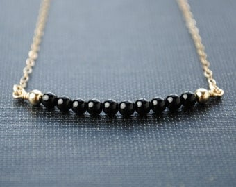 Simple Necklace, Delicate Necklace, Simple Gold Necklace, Simple Silver Necklace, Black Onyx Necklace