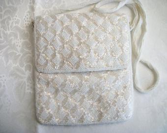 Vintage White Beaded Shoulder Strap Wedding Accessory Handbag Purse Collectible