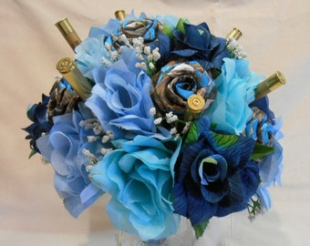 Wedding Bouquet, Bridal Bouquet, Blue Camo Wedding Bouquet, Camo Bridal Bouquet, True Timber Blue Satin, Blue Silk Flowers, Keepsake Bouquet