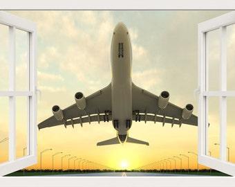 3D Fenster Wand Aufkleber Von Einem Flugzeug Abheben Wandtattoo Fr Wohnzimmer