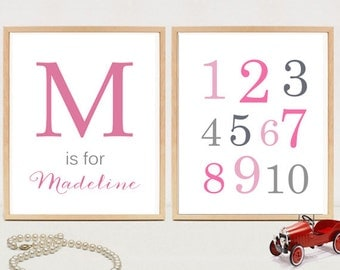 Nursery Baby Girl Monogram gift - Girls Initial Wall Art - Initial Print - Baby shower gift - Monogram Wall Art Printable - DIGITAL FILE!