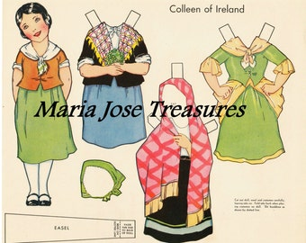 Vintage Irish Paper Dolls 1 - Digital Download