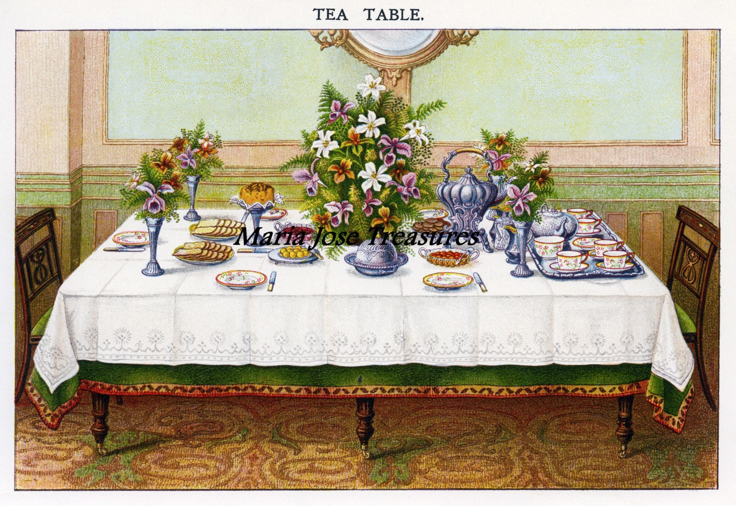 Vintage victorian table setting images 2 digital download for Edwardian table setting
