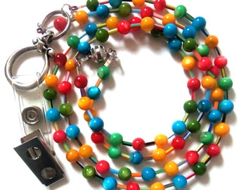 red orange blue green beaded badge lanyard with magnetic break away clasp and fastener clip
