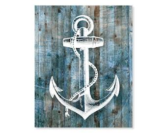 Anchor Print, Faux Wood Look, Rustic Art, Anchor Art, 5x7, 8X10, 11x14 Nautical Decor, Nautical Wall Art, Anchor Art Print
