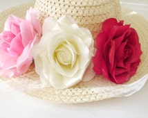 White -Violet-Pink  flower hat sun-Summer hat sun -Women's Wide Brim - Floral hat- Beach- Pool hat