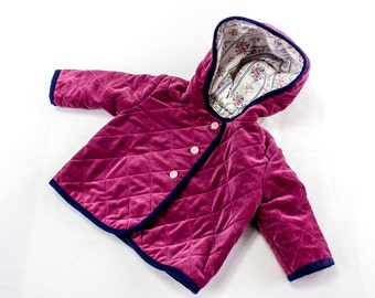 Quilted Baby Jacket, Baby Girl Winter Jacket with Hood,Pink Velveteen Baby Jacket, Lined Baby Jacket, 12 months size