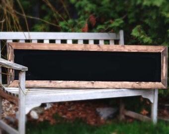 "Rustic Framed Chalkboard 48x13"", Rustic Blackboard, Rustic Home Decor, Mantel Decor, Rustic Wedding, Chalkboard Sign"