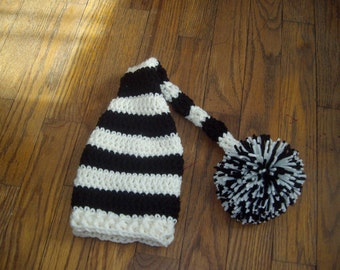 Baby Hat Boy  Cream and black long tail elf hat with pompom Crochet elf hat