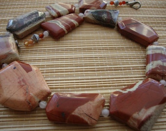Vintage Terracota Free Form Jasper Gemstone Beaded Collar Necklace Long 18.5""