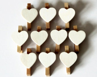 10 Mini Heart Pegs - 30mm x 18mm - Memo Favours - Valentine Heart Pegs - White Peg Favors - Peg Clips - Wedding Place Cards OC38