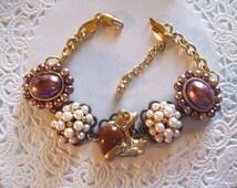 Vintage Bracelet (06) - Upcycled Jewelry - Trifari Frog Bracelet - Frog Jewelry