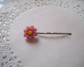Jeweled Hair Pin (152) - Mauve Pink Flower Hair Pin - Mauve Pink Flower Bobby Pin - Hair Jewelry