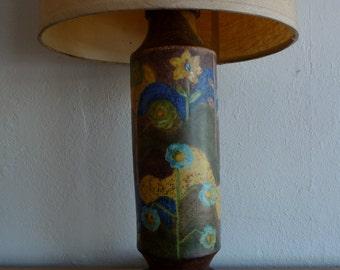 Hand Painted Mid Century Ceramic Lamp