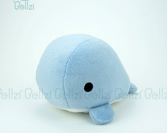 "Bellzi® Cute Stuffed Animal ""Blue"" w/ White Contrast Whale Plushie Doll - Whali"