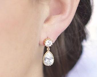 Bridesmaid Earrings Gold (Cubic Zirconia / Gold Two Piece Post Earrings Z14, 15)