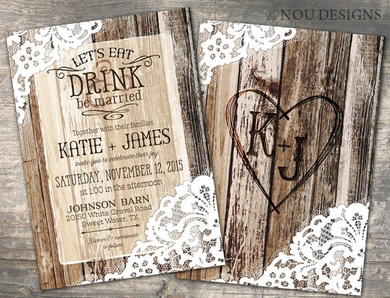 Rustic Western Wedding Invitations: Rustic Country Western Wood Planks And Lace Bridal Shower