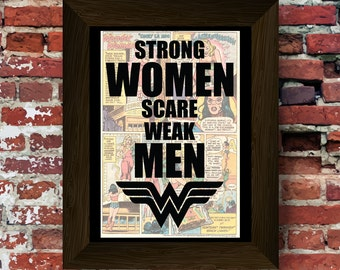 Wonder Woman Inspired Strong Women quote with symbol Upcycled vintage comic book art print. #0047