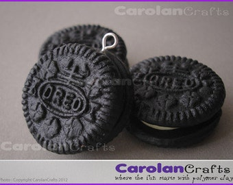 OREOS - 3 Handmade Fimo/Clay Mini Oreos Biscuit Charms Beads