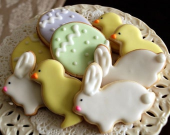 Easter Iced Shortbread Cookies - 1 Dozen