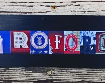 Air Force sign, air force military sign, military sign, letter art photography wood