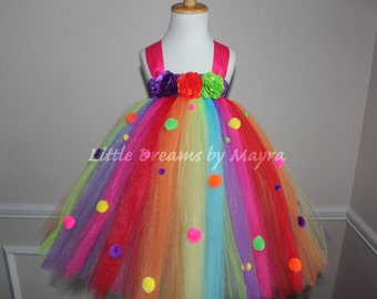 Clown tutu dress and FREE matching hairpiece, rainbow tutu dress, pom pom tutu dress size nb to 9years