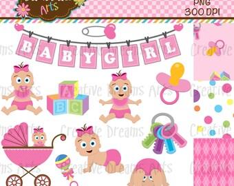 40% Off! Little Baby Girl Digital Clip Art Instant Download