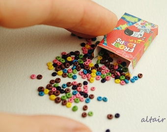 Cereal box with cereal, cornflakes, loops, Doll's house miniature, miniature food