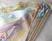 Spring Fairy Wands, Set of 12, Easter Pastel Fabric Streamers with Bells, Wedding Send Off,  Birthday Party Favor. Personalized Option