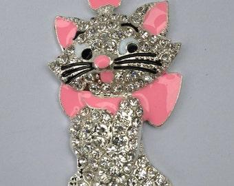 50mm Cat Kitten Marie Aristocats Rhinestone Pendant Chunky Necklace Beads