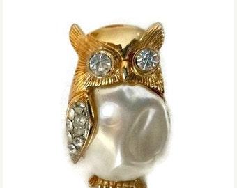 Vintage Rhinestone Pearly OWL Brooch Woodland Bird Figural Pin Broach 70s Hollywood Glam Regency Jewelry 1970s Boho Chic Fashion Animal Gift