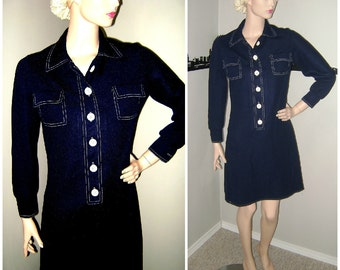 Vintage MOD Navy Scooter Dress, 60s Fashion Skater Dress, School Girl, Twiggy Dress, Peggy Olson Mad Men, 1960s Mini Carnaby Preppy Fashion