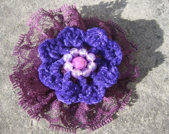Pink and Purple Crocheted Brooch (FREE postage in the UK)